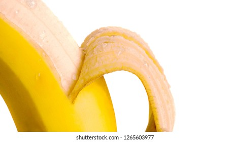 perfect delicious Peeled Banana on white isolated