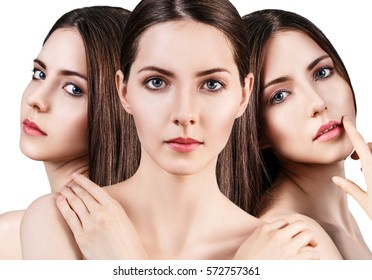 Perfect faces of beautiful woman.
