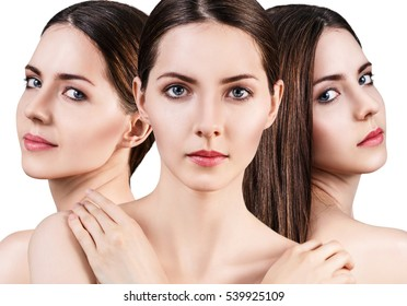 Perfect faces of beautiful woman's.