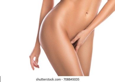 Perfect female body on white background