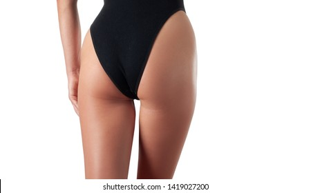 Perfect female buttocks without cellulite in panties. Skin care and anti cellulite massage, beautiful woman's butt in underwear. Slim fit woman body.
