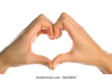 perfect female hand and fingers in heart shape against white background