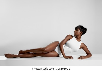 perfect fit black woman in white space