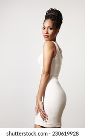 perfect fit woman in white dress