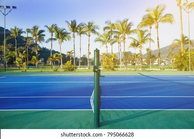 A perfect and flat tennis court in a tropical resort in Brazil