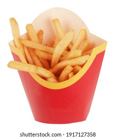 Perfect French fries potatoes in red and yellow paper bag packaging pocket