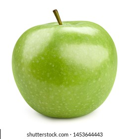 Perfect fresh green apple isolated on white background. Apples Clipping Path. Best studio food photography