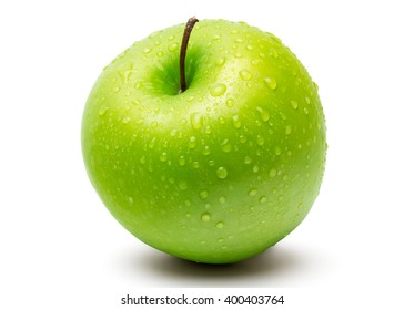 Perfect Fresh Green Apple Isolated on White Background with water drop in Full Depth of Field with Clipping Path.