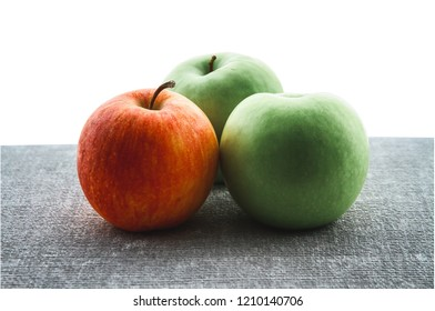 Perfect Fresh Green Apples Isolated on half White Background