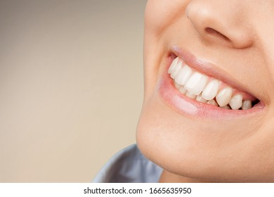 Perfect healthy teeth smile of a young woman.