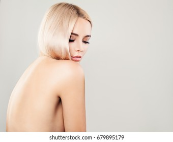 Perfect Healthy Woman on Background with Copy Space, Female Back. Spa Beauty, Facial Treatment and Cosmetology Concept