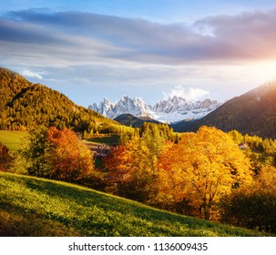 Perfect landscape in Santa Magdalena. Location place Funes valley, Dolomiti Alps, Trentino-Alto Adige, Italy, Europe. Scenic image of popular european travel destination. Discover the beauty of earth.