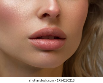 Perfect Lips. Sexy Girl Mouth close up. Beauty young woman Smile. Natural plump full Lip. Lips augmentation. Close up detail. Natural beauty
