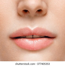 Perfect Lips. Sexy Girl Mouth close up. Beauty young woman Smile. Natural plump full Lip. Lips augmentation. Close up detail Open mouth