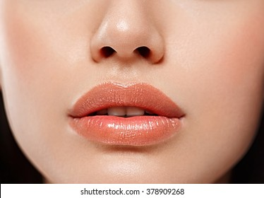 Perfect Lips. Sexy Girl Mouth close up. Beauty young woman Smile. Natural plump full Lip. Lips augmentation.Nose