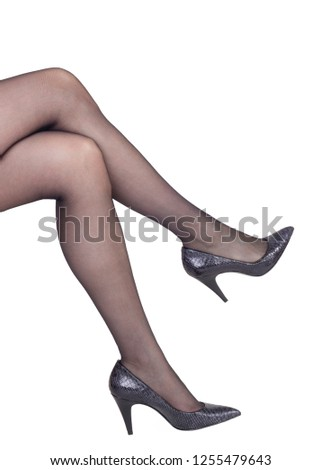 3ee3f96f5a5 Perfect long female legs in black nylon stockings and heel shoes isolated  on white background -