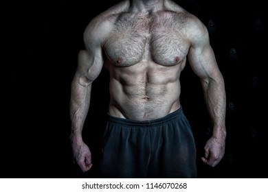 Perfect look. Torso with six packs looks attractive on black background. Muscular torso with huge muscles result of exhausting trainings and proper nutrition. Achieve muscular torso tips.