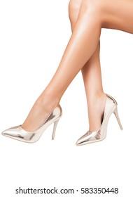 Perfect luxury shoes over white background. Fashion women. Studio photo