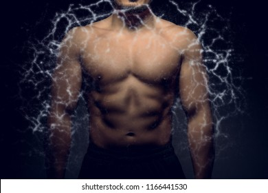 Perfect male upper body with electric energy. Concept of body transformation.