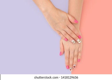 Perfect manicure gel art polish fashion design clean hand woman closeup on isolated background