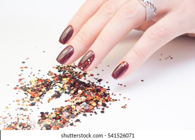 Perfect manicure and natural nails. Attractive modern nail art design. Gel polish applied.