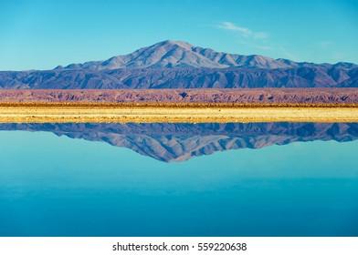 Perfect mirror like reflection in Lake Chaxa near San Pedro de Atacama, Chile