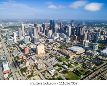 Perfect morning sun flying high above Houston Texas cityscape skyline aerial drone view of city on nice sunny morning gulf coast metroplex aerial drone view