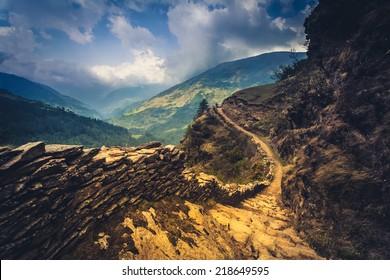 perfect mountain trail in the Himalaya, Nepal