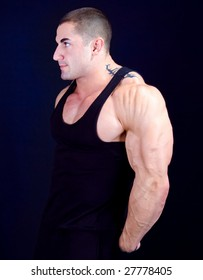 The Perfect Muscular male model, islolated on dark blue background