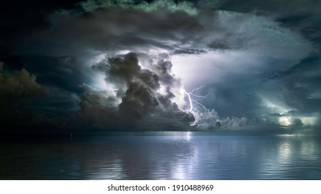 The perfect mushroom cloud storm over the sea