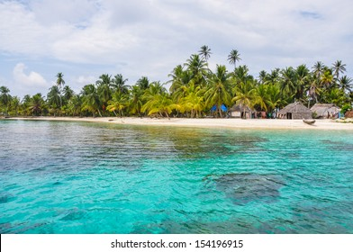 Perfect native caribbean village on crystal clear island. San Blas, Panama. Central America. Latin American Culture.