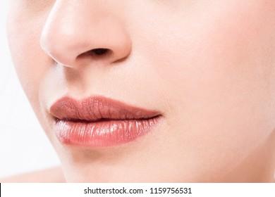 Perfect natural lip makeup. Close up macro photo with beautiful female mouth.