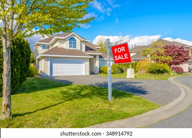 A perfect neighborhood. Houses for sale in suburb at Spring in the north America.