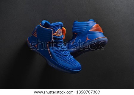reputable site 68040 311df Perfect Nike Air Jordan XXXII 32 RUSS luxury basketball shoes in blue and  orange colors shot