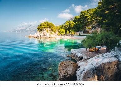 Perfect place of the calm Adriatic Sea. Location Makarska riviera, Croatia, Dalmatia region, Balkans, Europe. Scenic image of most popular european travel destination. Discover the beauty of earth.