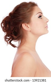 Perfect profile of beautiful woman with antique hairstyle