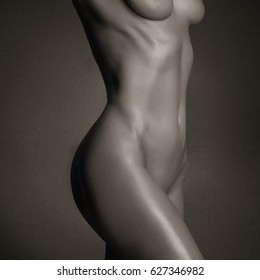 Perfect profile of woman body. Closeup black and white. Sexy body nude woman. Naked sensual beautiful girl. Woman nude detail.