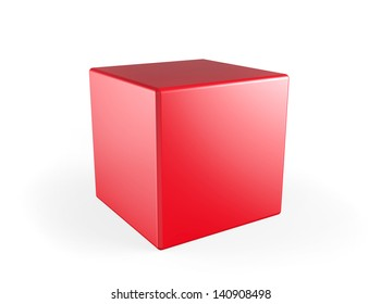 Perfect red 3d cube on a white background