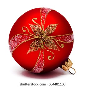 Perfect red christmas ball isolated on a white background