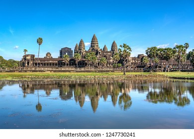 Perfect reflection of Angkor Wat at daytime, Siem Reap, Cambodia