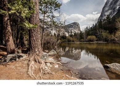 Perfect Reflection of Mount Watkin on the Mirror Lake Trail at Yosemite National Park
