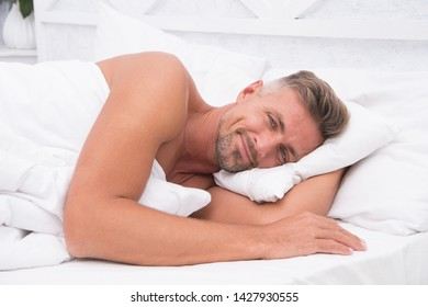 Perfect rest. Sleeping beauty. Man handsome guy lay in bed. Get enough amount of sleep every night. Tips sleeping better. Bearded man sleeping face relaxing on pillow. Pleasant relaxation concept.
