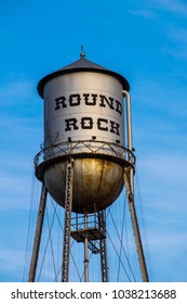 Perfect Round rock , Texas , USA perfect lighting on the iconic landmark water tower of the suburb north of Austin , TX