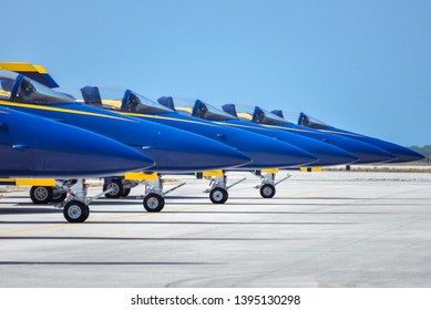 perfect row of blue planes
