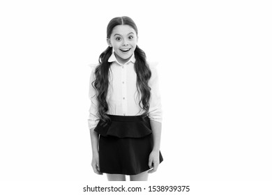 Perfect schoolgirl. Happy girl wear school uniform. Gorgeous tails perfect for every day of week. Back to school concept. Schoolgirl happy smiling pupil long curly hair. Diligent schoolgirl.