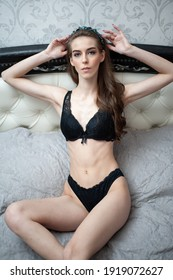 Perfect sensual young woman in black lace lingerie