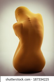 perfect sexy female body in yellow fabric, back view, image toned