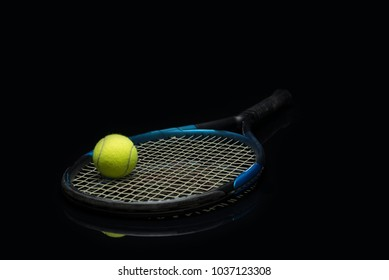 Perfect shot of a tennis ball on a racket