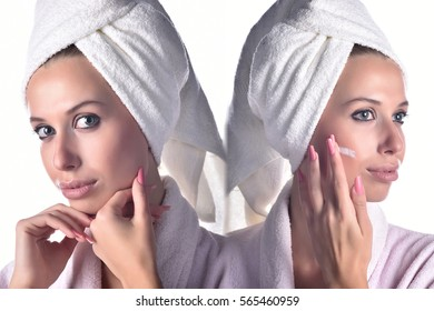 Perfect skin woman image , two images stick in one , beauty treatment concept of woman with clean face , before and after skin treatment , perfect clean face portrait