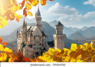 Perfect sky over Neuschwanstein Castle under Sunlight with Mountain Hills on Background and colorful leafes, Amazing autumn Landscape. Picture of the fairy tale Castle near Munich in Bavaria, Germany.